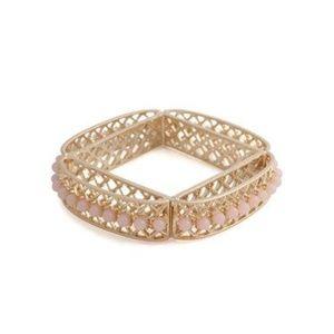 JewelMint gold Karma Bangle - square cage style
